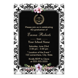 Law School Vintagr Floral & Damask Graduation 13 Cm X 18 Cm Invitation Card