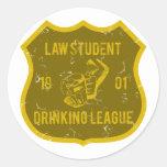 Law Student Drinking League Round Sticker