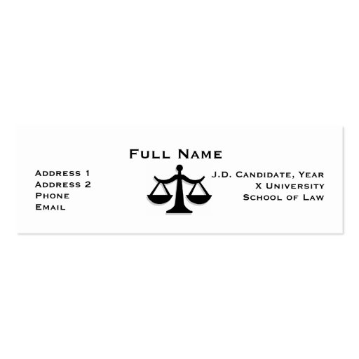 Law Student Profile Card 1 Pack Of Skinny Business Cards