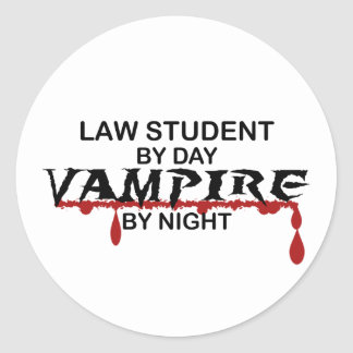 Law Student Vampire by Night Round Sticker