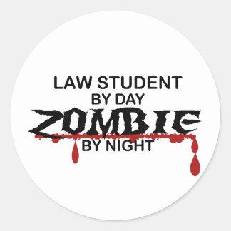 Law Student Zombie Round Sticker
