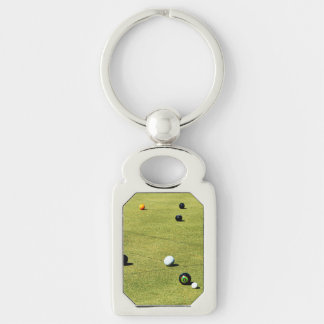 Lawn Bowls Action, Metal Silver Rectangle Keychain