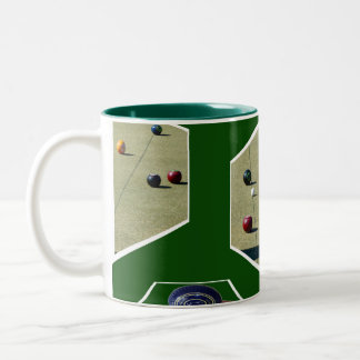 Lawn Bowls Dimensional Art, Two-Tone Coffee Mug