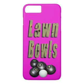 Lawn Bowls Dimensional Logo And Bowls On Pink, iPhone 8 Plus/7 Plus Case