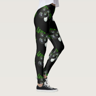 Lawn Bowls Dimensional Logo, Ladies Black Leggings