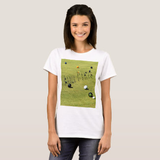 Lawn  Bowls Game And Logo, Ladies White T-shirt