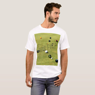 Lawn  Bowls Game And Logo, Mens White T-shirt