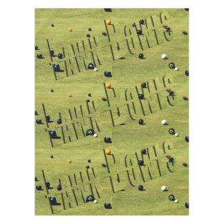 Lawn Bowls Game Logo, Green Cotton Table Cloth. Tablecloth