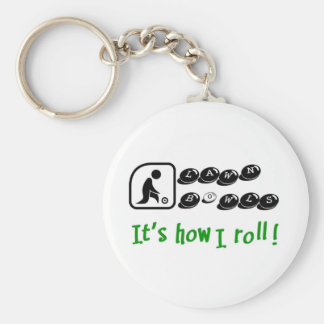 Lawn Bowls -It's How I Roll Basic Round Button Key Ring