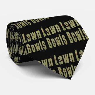 Lawn Bowls Logo, Mens Black Silky Tie. Tie