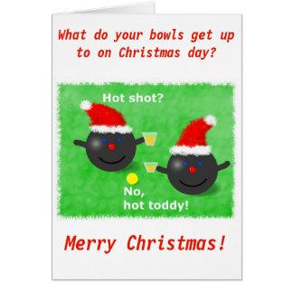 Lawn Bowls, Short mat bowls Christmas card