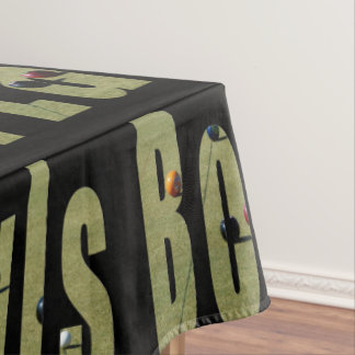 Lawn Bowls Sports Logo Black Cotton Table Cloth Tablecloth