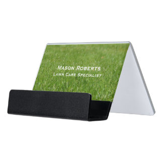 Lawn Care Green Lawn Landscaping Desk Business Card Holder