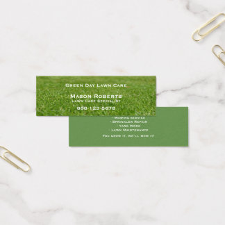 Lawn Care Green Lawn Landscaping Mini Business Card