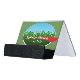 Lawn Care Landscaping Logo Desk Business Card Holder