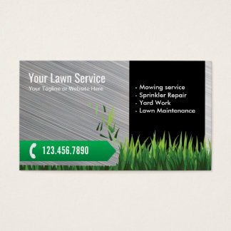 Lawn Care & Landscaping Service Metal Business Card