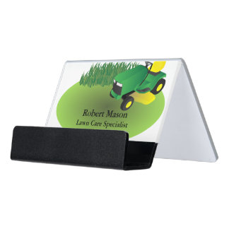 Lawn Care Lawn Mower Landscaping Grass Desk Business Card Holder