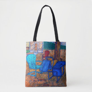 Lawn Chairs in the Spring Rain Tote Bag