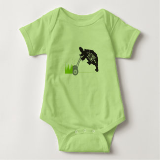 Lawn Mowing Turtle Green Baby Jersey Bodysuit
