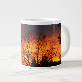 Lawndale Cemetary Fiery Sunset Large Coffee Mug