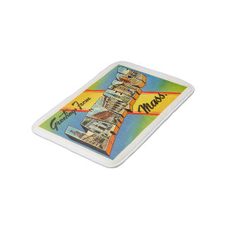 Lawrence Massachusetts MA Vintage Travel Souvenir Bath Mats
