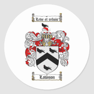 LAWSON FAMILY CREST -  LAWSON COAT OF ARMS CLASSIC ROUND STICKER