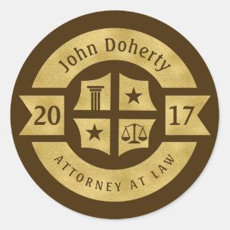 Lawyer 2017 Attorney At Law | Best Golden Round Sticker