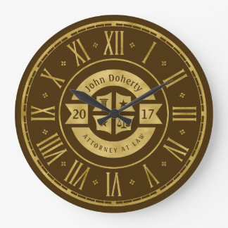 Lawyer 2017 Attorney At Law | Elegant Gold Brown Clock