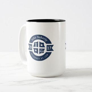 Lawyer 2017 Attorney At Law | Elegant Navy Blue Two-Tone Coffee Mug