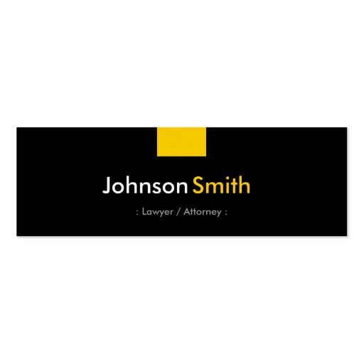 Lawyer / Attorney - Amber Yellow Compact Business Card Templates
