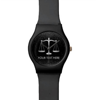 Lawyer Attorney at Law Black Glitter Professional Watch