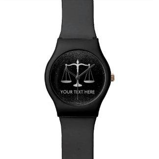 Lawyer Attorney at Law Black Glitter Professional Wrist Watch