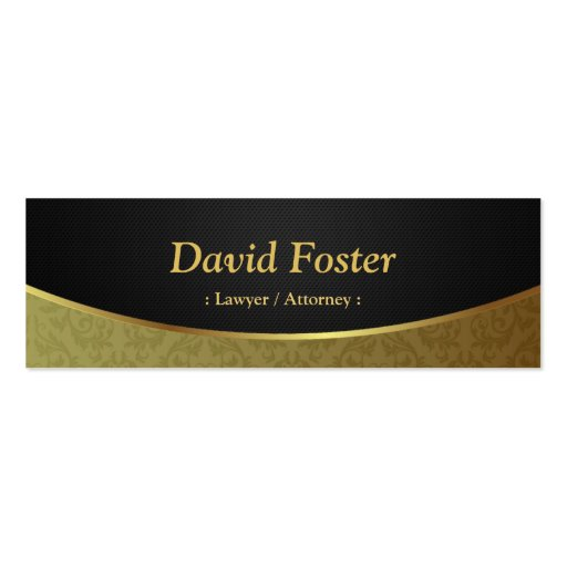 Lawyer / Attorney - Black Gold Damask Business Card Template