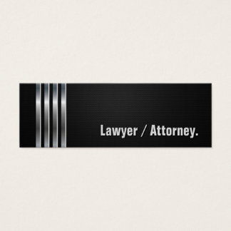 Lawyer / Attorney - Black Silver Stripes Mini Business Card