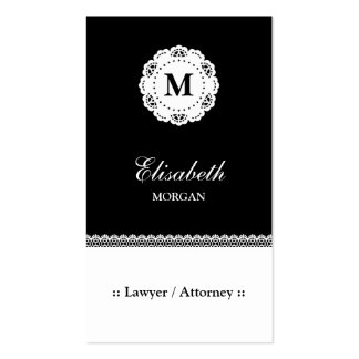 Lawyer / Attorney Black White Lace Monogram Pack Of Standard Business Cards