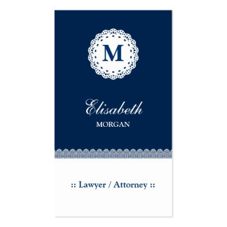 Lawyer / Attorney Blue White Lace Monogram Pack Of Standard Business Cards
