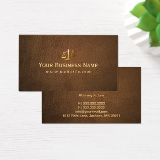Lawyer Attorney Classy Brown Leather Business Card