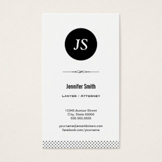 Lawyer / Attorney - Clean Black White Business Card