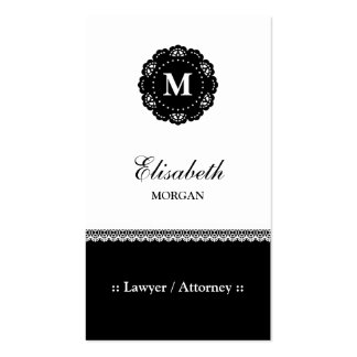Lawyer / Attorney - Elegant Black Lace Monogram Pack Of Standard Business Cards