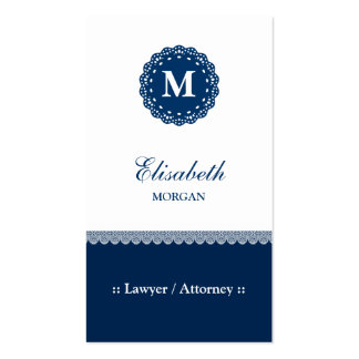Lawyer / Attorney - Elegant Blue Lace Monogram Pack Of Standard Business Cards