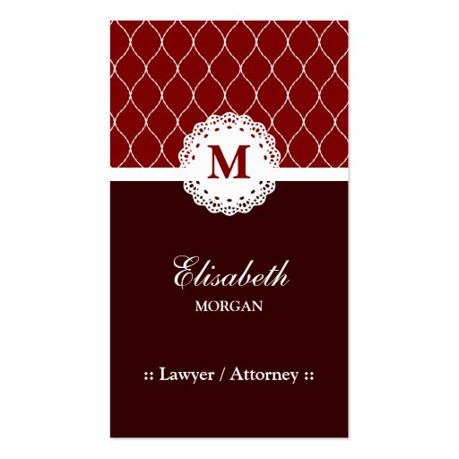 Lawyer / Attorney - Elegant Brown Lace Pattern Business Card Template