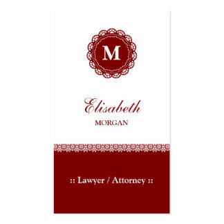 Lawyer / Attorney - Elegant Red Lace Monogram Pack Of Standard Business Cards