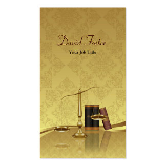 Lawyer Attorney Justice - Elegant Gold Leaf Damask Double-Sided Standard Business Cards (Pack Of 100)