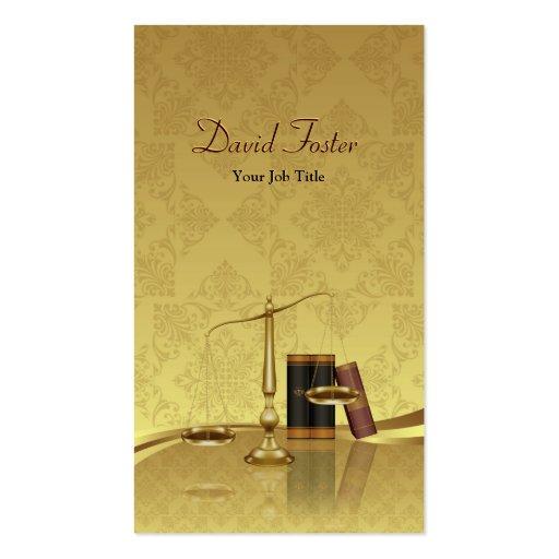 Lawyer Attorney Justice - Elegant Gold Leaf Damask Business Card Template
