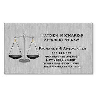 Lawyer Attorney Justice Scales Magnetic Business Cards