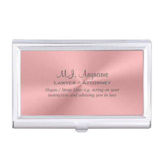 Lawyer / Attorney luxury rose pink chrome-look Business Card Cases