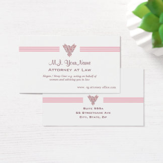 Lawyer / Attorney luxury stripes and pink phoenix Business Card