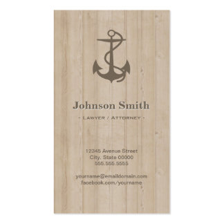 Lawyer / Attorney - Nautical Anchor Wood Pack Of Standard Business Cards