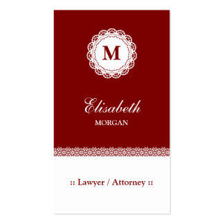 Lawyer / Attorney Red White Lace Monogram Pack Of Standard Business Cards
