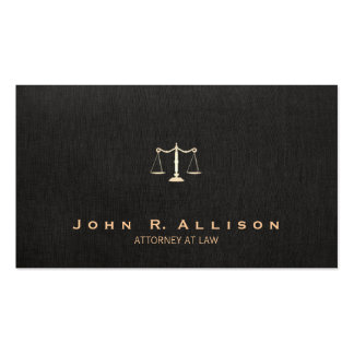 Lawyer Black Linen Look Scales of Justice Pack Of Standard Business Cards